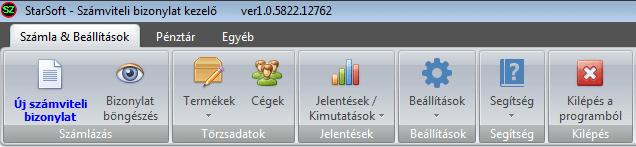 Számviteli bizonylat készítő szoftver: Főmenü